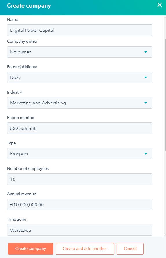 Jeśli korzystasz z HubSpot CRM, informacje o firmie potencjalnego klienta zostaną automatycznie przeniesiona ze wszystkich dostępnych rejestrów publicznych.