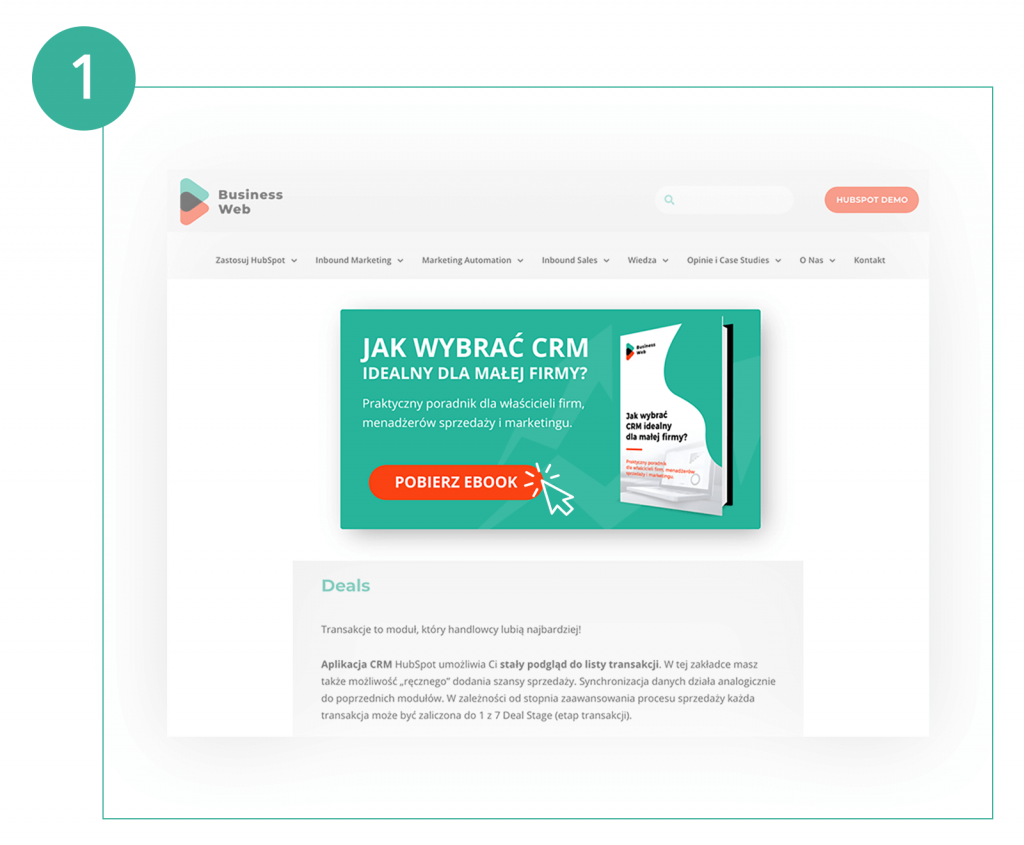 call to action prowadzące do landing page