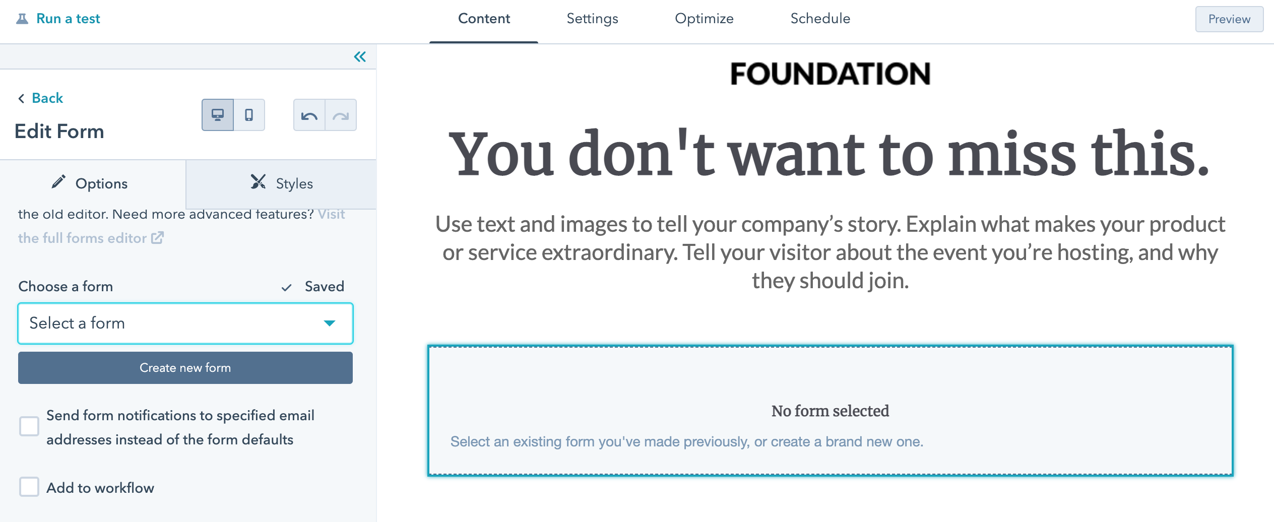 dodaja formularz na landing page