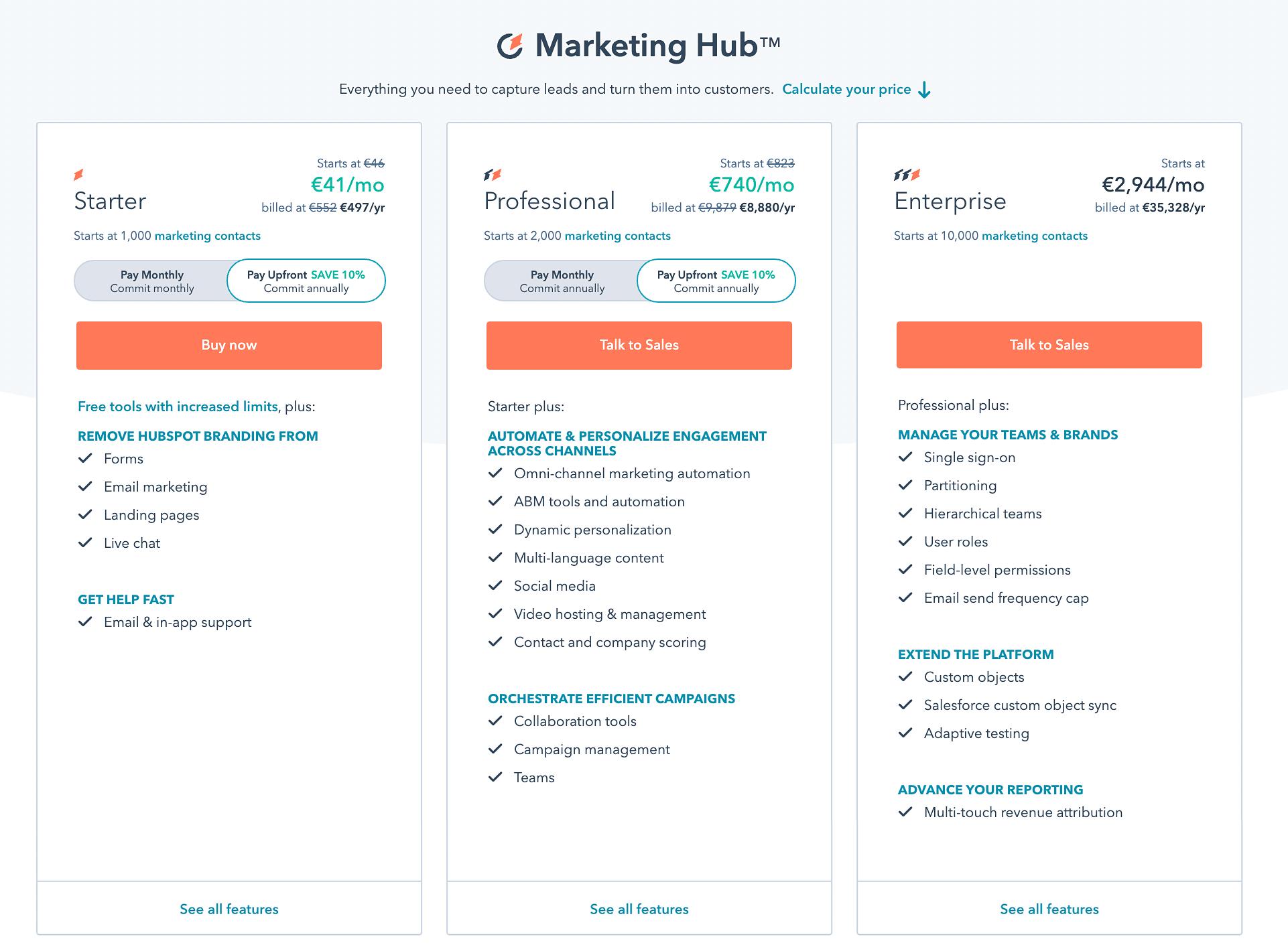Hubspot marketing hub Cennik