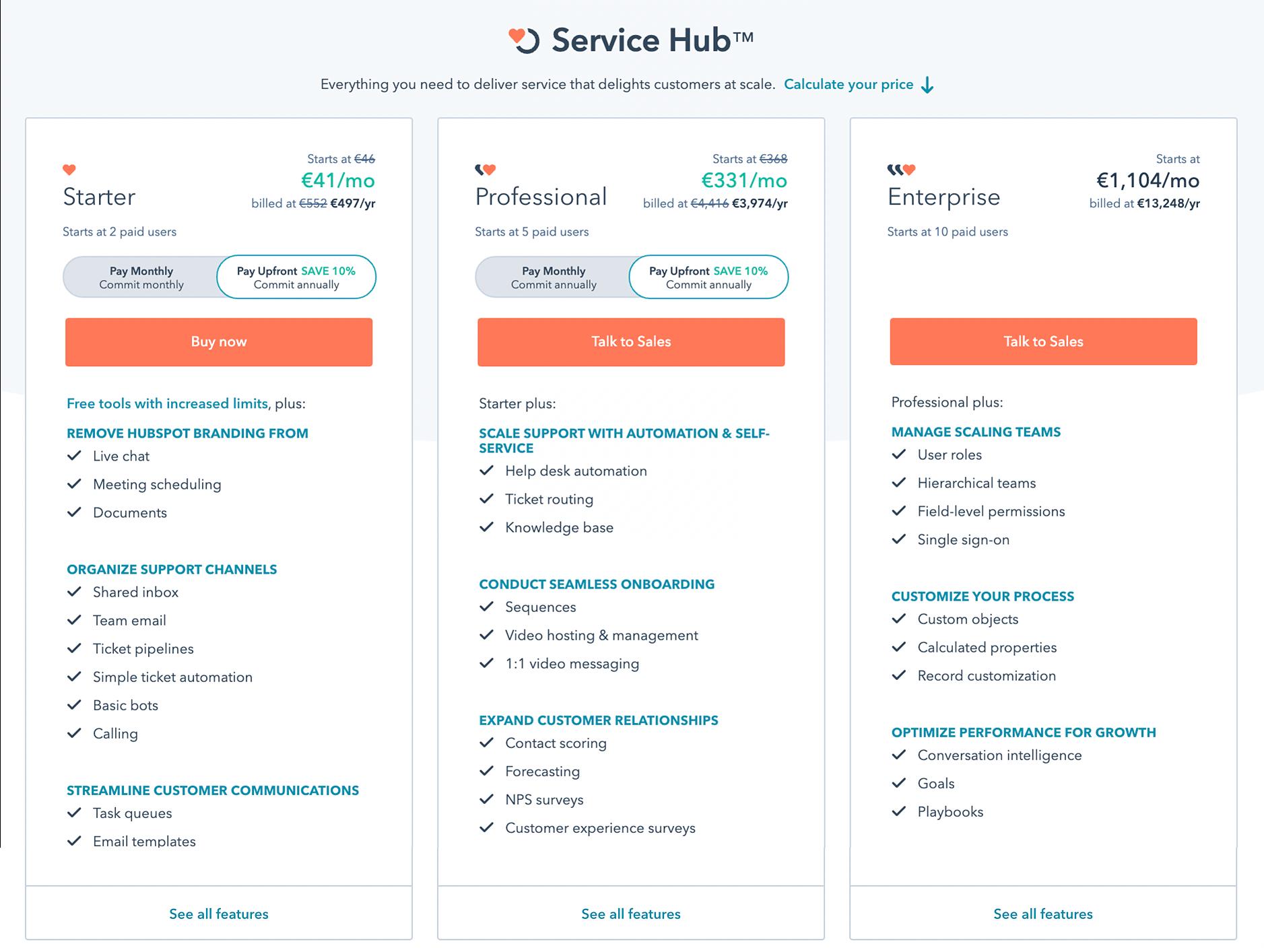 Hubspot service hub cena