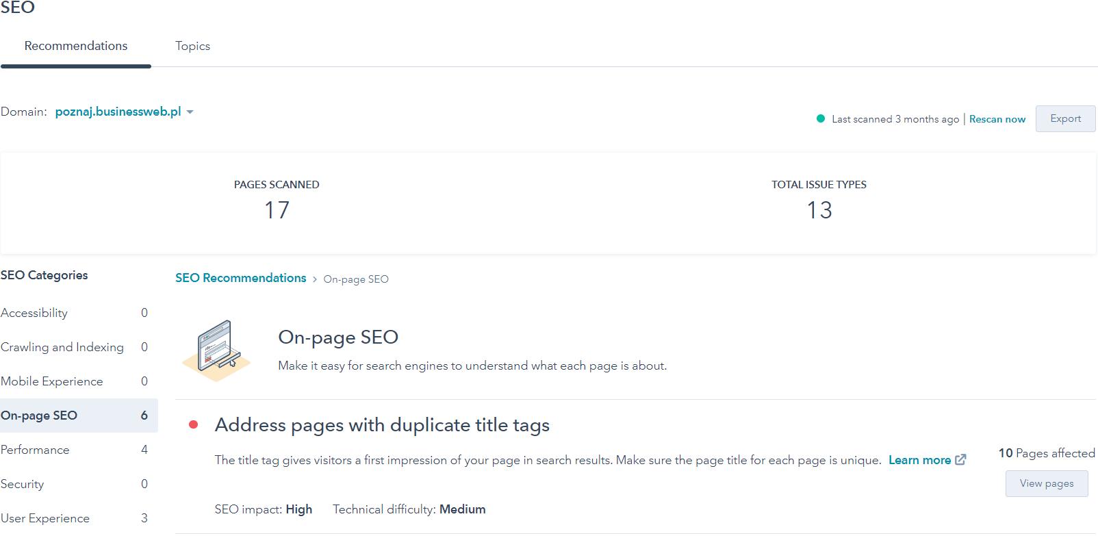 Zobacz jakie rekomendacje SEO generuje narzędzie HubSpot